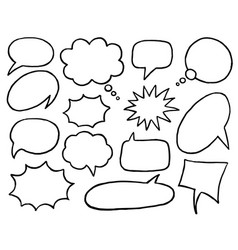 Black and white speech bubble isolated icon set vector