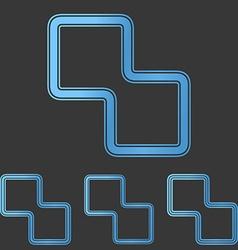 Blue line science logo design set vector