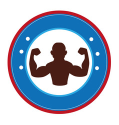 Bodybuilder silhouette isolated icon vector