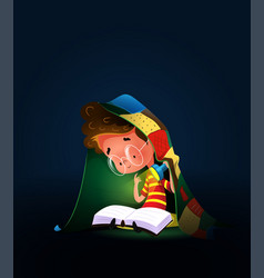 boy reading book with torch under duvet vector image