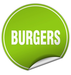 burgers round green sticker isolated on white vector image