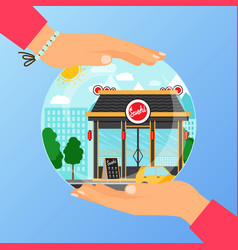 Business concept for opening sushi restaurant vector