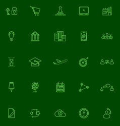 Business connection green line icons vector