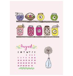 Calendar of august 2018 the shelves vector