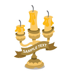 Candlestick on three candles with ribbon banner vector