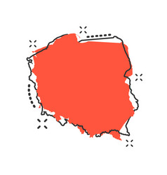 Cartoon poland map icon in comic style poland vector