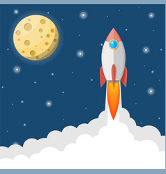 cartoon rocket in sky full moon in night sky vector image