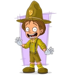 Cartoon smiling young boy-scout vector