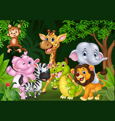 Cartoon wild animal in the jungle vector