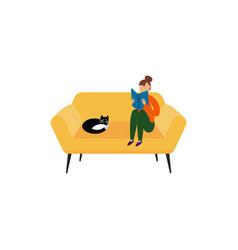 cartoon woman sitting on cozy yellow sofa reading vector image