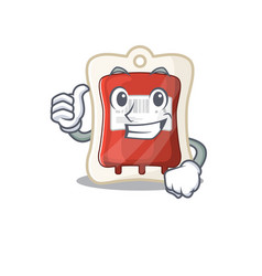 Cheerfully blood bag making thumbs up gesture vector