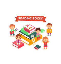 children reading books boys and girls enjoying vector image