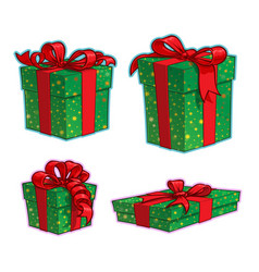 christmas cartoon icon set - four present boxes vector image