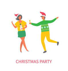 christmas party woman in skirt man glass of wine vector image