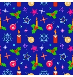 Christmas seamless pattern Candles balls holly vector