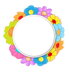 circle banner with flowers vector image vector image