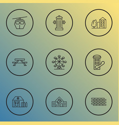 city icons line style set with school brick wall vector image