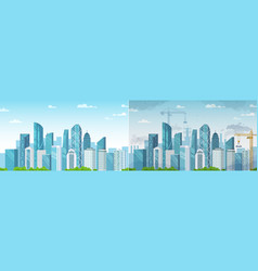 clean and polluted city pollution and environment vector image