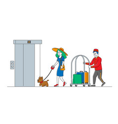 Clerk character in uniform meeting woman with dog vector