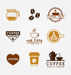 coffee beverage logo set design vector image