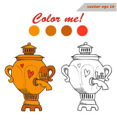 coloring page of traditional russian tea vector image