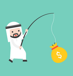 cute arab businessman got money bag by fishing vector image