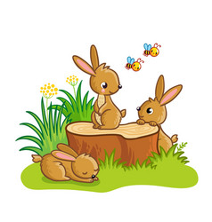 Cute rabbits sitting around the stump vector