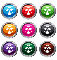 danger nuclear set 9 collection vector image