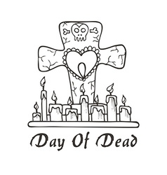 Day of deadgrave candles with heart and skull vector