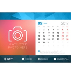 Desk Calendar Template for 2017 Year May Design vector image