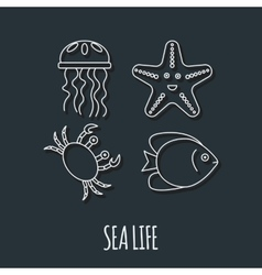 Diving icon with jellyfish fish crab and vector
