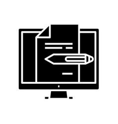 Editing files black icon concept vector