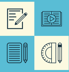 Education icons set collection of taped book vector