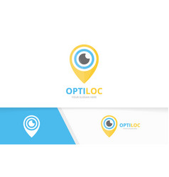 eye and map pointer logo combination optic vector image