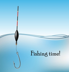 Fishing float and hook in water vector