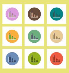 flat icons set of column chart and dollar emblem vector image