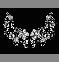 Floral neck embroidery design in baroque style vector