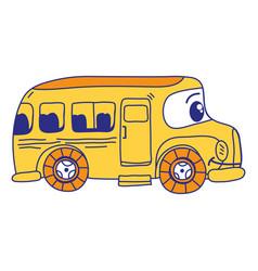 Full color kawaii happy school bus transport vector