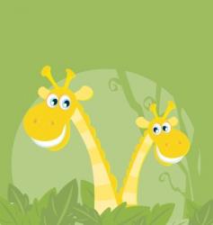 funny animals jungle giraffe family vector image
