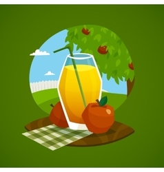 Glass Of Juice With Rural Landscape Background vector image