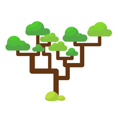 Green savannah tree flat vector