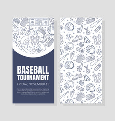 hand drawn baseball symbols used in two vector image