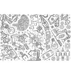 hand drawn robotics set doodle background vector image