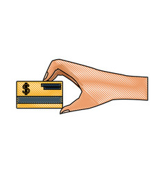 hand with credit card for payment business concept vector image vector image