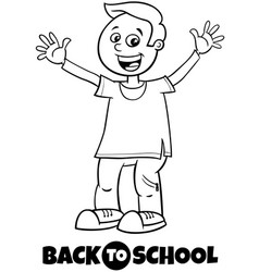 happy boy back to school cartoon color book vector image