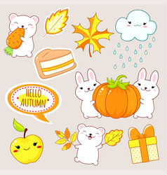 hello autumn set stickers with cute animals vector image