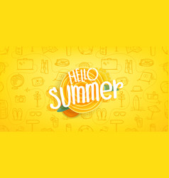 hello summer vintage style concept composition vector image