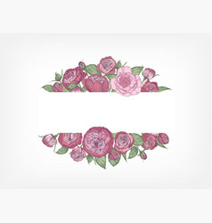 Horizontal banner decorated with blooming garden vector