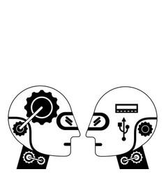 Humanoids robots profiles icon vector
