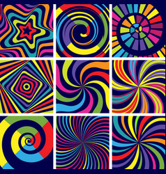 Hypnotic colored shapes abstract round spiral vector